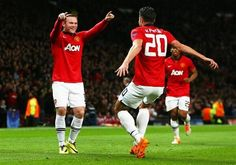 e85a200ac Wayne Rooney celebrates with Robin van Persie after the RvP s 2nd goal for Man  Utd tonight. `