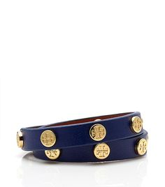 Tory Burch leather double wrap logo stud bracelet