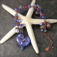 Lampwork Heart Bracelet in Periwinkle blue by XannasJewelryBox, $57.00