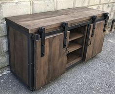 Hand Crafted Rustic Industrial Barn Board Media Stand W/ Sliding Doors 55 by The Crabby Lion | CustomMade.com