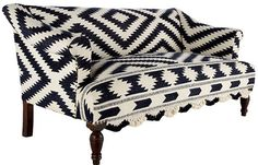 Black and white Navajo print settee. Not sure about trim but like the bold pattern.