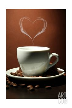 Cup Of Coffee With Smoke In Shape Of Heart On Brown Background Art Print by Yastremska at Art.com