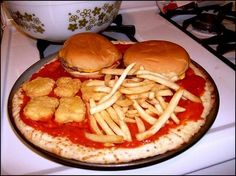 """A Full McDonalds Meal + Pizza = Big Mac Pizza Supreme. I can't pin this on """"Must Try Recipes"""", it is too bizarre. Mcdonalds Pizza, Diet Pepsi, Food Porn, Cheeseburger, Food Combining, Big Mac, Food Humor, Healthy Snacks For Kids, Healthy Pizza"""