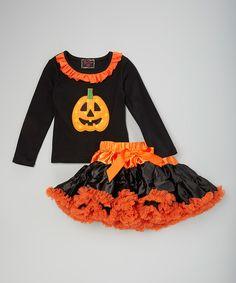 Love this Black & Orange Pumpkin Tee & Pettiskirt - Infant, Toddler & Girls by Royal Gem on #zulily! #zulilyfinds