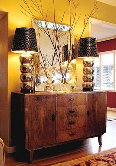 Warm wall color (Benjamin Moore's Shelburne Buff HC-28) paired with vintage furniture. ~s