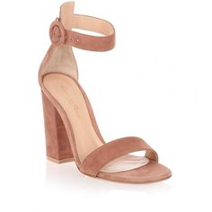 Gianvito Rossi Versilia dark nude suede sandal found on Polyvore featuring shoes, sandals, heels, beige, block heel sandals, nude high heel sandals, ankle strap heel sandals, high heel shoes and heeled sandals