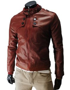 (JK707-RED) Slim Fit Synthetic Leather Short Jacket