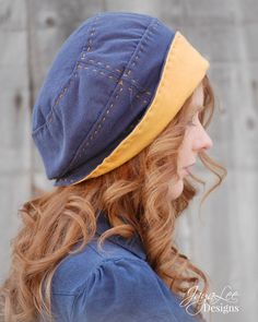 Slouchy Beanie Hat in Blue and Gold / by GreenTrunkDesigns on Etsy