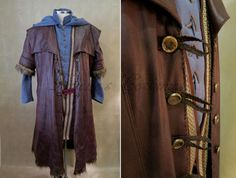 Hobbit Movie Images were used for inspiration as seen below. For this costume my customer was looking for Kili Inspired costume that featured designs and elements from the movie garments. Costume includes a vegan leather coat, long tunic shirt with hood, vest and pants. Creating the vegan leather jacket was...