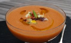 The BEST gazpacho ever. Trust me: I have tried MANY recipes over the years. This wins hands down.