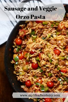 A quick week night dinner is just 30 minutes away with this filling and flavorful Sausage and Veggie Orzo recipe! Also makes an excellent meal prep recipe! Spicy Sausage, Orzo Recipes, Lunch Recipes, Turkey Pasta, 30 Minute Meals, Delicious Dinner Recipes, Bell Pepper, Dairy Free Recipes