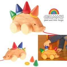 Grimm's Toddler Hedgehog - Natural Wood Pull Toy with 8 Colorful Cone & Disc Stackers: Toys & Games