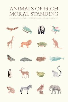Animals of High Moral Standing Print by AnimaliaShop on Etsy. $29.00 USD, via Etsy.