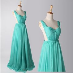Turquoise Backless A-line Chiffon Prom Dress Long Bridesmaids Dress Simple Prom Gown Evening Dress on Etsy, $109.99