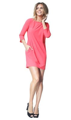 Halle - coral - Jersey lycra tunic dress | LaDress