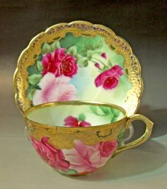 4:00 Tea...Noritake...Large Rose Pattern teacup and saucer with heavy gold gilt..Circa  1890-1920