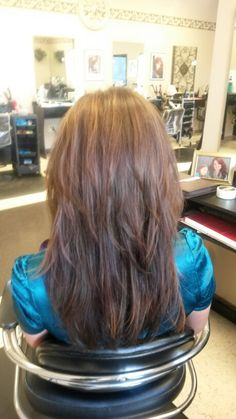 Long hair with layers brunette with hilites