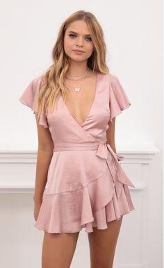Party dresses > Eliza Wrap Dress in Blush Satin Satin Bodycon Dress, Satin Dresses, Day Dresses, Wrap Dress Short, Tulip Dress, Pink Dress, Girls In Mini Skirts, Plunge Dress, Shower Dresses