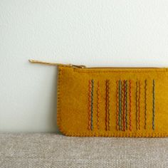 Mustard Seed in Spice Market Made To Order Wool Felt Coin Purse by LoftFullOfGoodies, $18.00