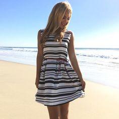 Monroe Stripe Babydoll Dress
