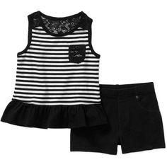 Garanimals Baby Toddler Girl Pocket Tank and Shorts Outfit Set, Size: 18 Months, Black