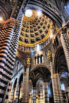 The Duomo, Siena, Italy. Black and white marble interior -- hands down my favorite in all of Italy. Beautiful Architecture, Art And Architecture, Places Around The World, Oh The Places You'll Go, Siena Toscana, Rome Florence, Siena Cathedral, Black And White Marble, Tuscany Italy