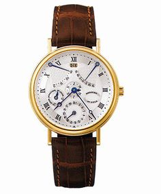 Breguet Perpetual Calendar Equation of Time Silver Dial 18kt Yellow Gold Brown Leather Men's Watch 3477BA1E986