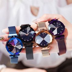 Ladies High Fashion Watch # Features a jewel-like faceted watch-face displaying the sky in crystals Cinch Sack, Sky Watch, Princess Style, Watch Faces, Mechanical Watch, Purple Gold, Quartz Watch, Fashion Watches, Bracelet Watch