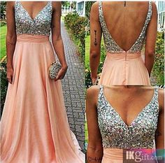 Gorgeous A Line V Neck Chiffon with Beading and Sequins Floor-Length Prom Dress - Prom Dresses - Wedding & Events