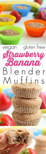 These Strawberry Banana blender muffins are vegan, gluten-free, and nut-free! They are made with no oil or refined sugar and the best part? You blend the batter making the prep time about 5 minutes! No excuses now--this is a great easy healthy breakfast Vegetarian Meals For Kids, Healthy Meals For Kids, Healthy Treats, Kids Meals, Vegetarian Recipes, Happy Healthy, Healthy Breakfast Recipes, Healthy Recipes, Whole30 Recipes