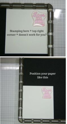 If you're Stamparatus won't stamp in corner, turn it the other way! Card Making Tips, Card Making Techniques, Making Ideas, Scrapbook Paper Crafts, Scrapbook Cards, Scrapbooking Ideas, Paper Crafting, Stamping Tools, Stamping Up Cards