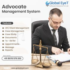 The Lawyer Management System is an advanced legal case management software by Global Eyet Software Solutions to improve processes administration. This Software is very user-friendly and supports the lawyer by giving immediate access to the information about Clients, Cases, Hearings Etc. Modules Include : 1.Hr / Client Management 2.Case management 3.Case study 4.Documents 5.To-do List 6.Appointments 7.Message and Reports Free Demo Available Now. Contact US:+91 8078 579 202 Management Case Studies, Office Management, Software Projects, Software Development, Lawyer, Appointments, Case Study, Messages, Activities
