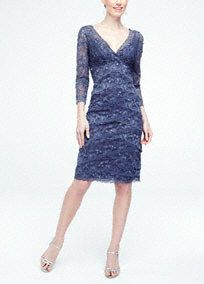 The 3/4 sleeve beaded stretch lace dress has all the elements to make the perfect entrance to any special occasion!  V neckline bodice features all over beaded stretch lace fabric.  Criss cross detail at front creates a flattering focal point.  3/4 sleeves add just the right amount of comfort.  Fully lined. Imported polyester/spandex blend. Hand wash cold.