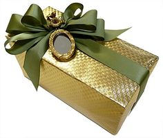 Elegant gold foil paper with sage satin ribbon