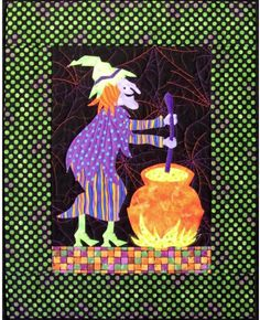 Fusible applique mini wall hanging for Halloween. Crystal Witch Quilt Pattern CJC-4525 by Castilleja Cotton - Diane McGregor.  Check out our Autumn patterns. https://www.pinterest.com/quiltwomancom/autumn-fall-patterns/  Subscribe to our mailing list for updates on new patterns and sales! http://visitor.constantcontact.com/manage/optin?v=001nInsvTYVCuDEFMt6NnF5AZm5OdNtzij2ua4k-qgFIzX6B22GyGeBWSrTG2Of_W0RDlB-QaVpNqTrhbz9y39jbLrD2dlEPkoHf_P3E6E5nBNVQNAEUs-xVA%3D%3D