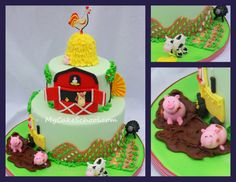 OK, I can't stop. ADORABLE Farm cake! This would be SOOOO cute with my Old McDonald's Farm cookies!