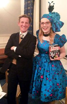 Society of Authors talk with Philip Reeve, chaired by Shoo Rayner. Dress and headscarf by Esther Marfo.