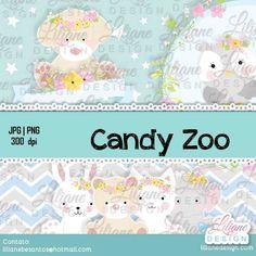 bichinhos no estilo candy, fica lindo para festa ou para quadro de decoração. O kit inclui fundo, flores,  e os bichinhos (gato,cachorro, coruja, urso, coelho e elefante)