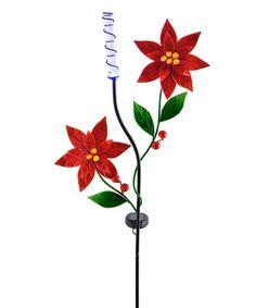 Poinsettia Solar Garden Stake