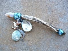 Sea Witch:  #Sea #Witch ~ Whalesong two crystal shells and driftwood wand, by The Leopard's Lair.