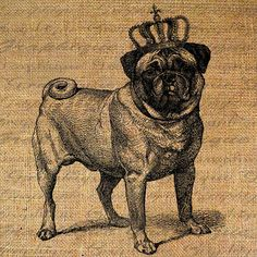 PUG Dog Fawn Color w CROWN Breed Dogs Canine Digital by Graphique, $1.00