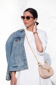 Chloe Drew bag mini, Celine sunglasses, denim jacket and gladiator sandals as seen at Stella Asteria | Fashion