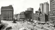 """Detroit circa 1915. """"Woodward Avenue and Campus Martius."""" Among the Motown landmarks in this panorama of two 8x10 glass negatives are the Hotel Pontchartrain, Soldiers' & Sailors' Monument, Ford Building, Detroit City Hall and Dime Savings Bank."""