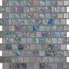 """1"""" x 1"""" Silver Fizz Offset irridescent glass tile http://www.uniquebuildingconcepts.com/locations.html"""