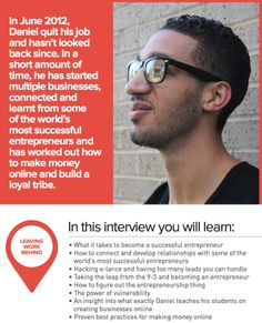 *Issue 09* LEAVING WORK BEHIND:  Let interviewee Daniel DiPiazza show you the way! (For a FREE TRIAL to Foundr Magazine go to the link at the top of the page under the board description).