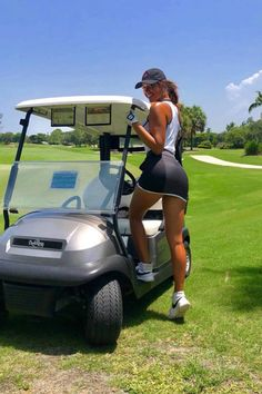 Image may contain: one or more people, grass, sky, tree, outdoor and nature Girls Golf, Ladies Golf, Caddy Girls, Golf Now, Sexy Golf, Golf Fashion, Golf Outfit, Athletic Women, Sport Girl