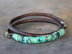 Trendy Mens Bracelet: Turquoise Leather sterling silver mens #sterlingsilverjewelry
