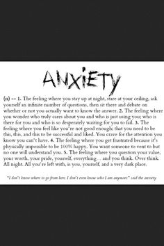 Anxiety... How true this is .. My anxiety is growing worse with bipolar!!!