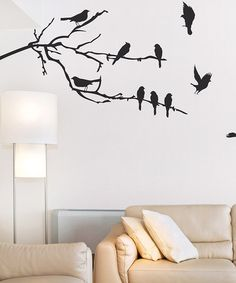 Idea for hallway... Tree w/ birds flying off/down hallway...  Take a look at this Black Branches & Birds Wall Decal Set by Sissy Little on #zulily today!