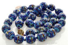 """ANTIQUE CHINESE BLUE ENAMEL SILVER BEAD NECKLACE 27"""""""